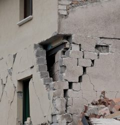 Earthquake damage on concreate building